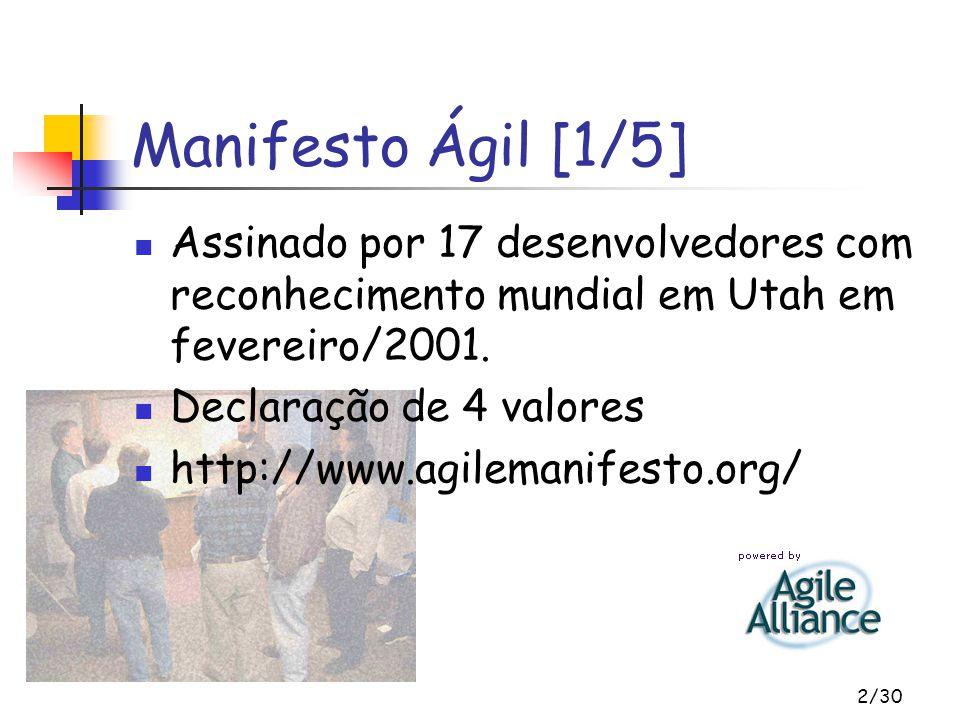 Manifesto Ágil [1/5] Assinado por 17 desenvolvedores com reconhecimento mundial em Utah em fevereiro/2001.